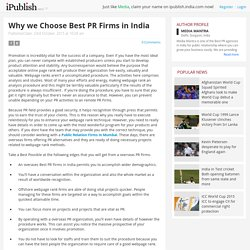 Why we Choose Best PR Firms in India