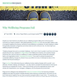 Why Wellbeing Programs Fail