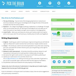 Why Write for PickTheBrain.com?
