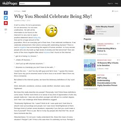 Why You Should Celebrate Being Shy!