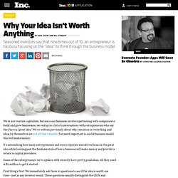Why Your Idea Isn't Worth Anything