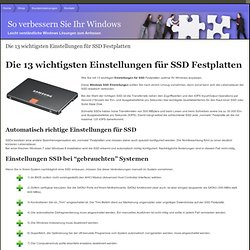 Die 13 wichtigsten Einstellungen für SSD Festplatten