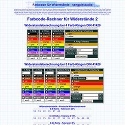 Farbcode für Widerstände 2 - Rechner Farbcode Widerstand Berechnung Kennfarbe Widerstands Code Farb Ring Ringe - sengpielaudio