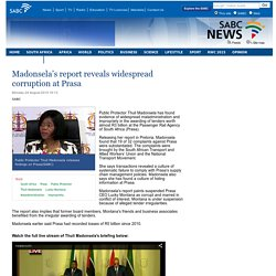 Madonsela's report reveals widespread corruption at Prasa:Monday 24 August 2015