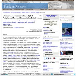 J. Plankton Res. (2008) Widespread occurrence of the jellyfish Pelagia noctiluca in Irish coastal and shelf waters