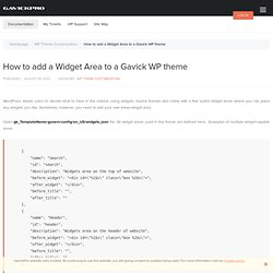 How to add a Widget Area to a Gavick WP theme - GavickPro Documentation