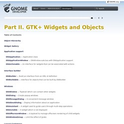 Part II. GTK+ Widgets and Objects: GTK+ 3 Reference Manual