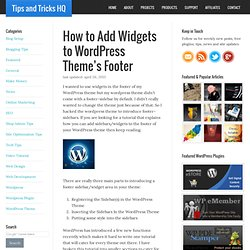 How to Add Widgets to WordPress Theme's Footer