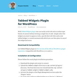 Tabbed Widgets Plugin for WordPress — Konstruktors
