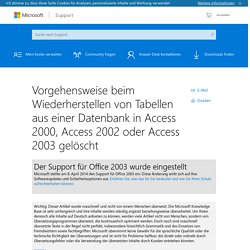 Wiederherstellen von Tabellen aus einer Datenbank in Access 2000, Access 2002 oder Access 2003 gelöscht