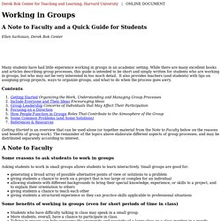 Working in Groups - Harvard University