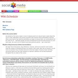 Wiki:Schedule