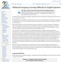 Wikibooks:Language Learning Difficulty for English Speakers