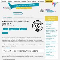 Wikiconcours des lycéens édition 2016-2017