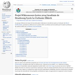 Projet:Wikiconcours lycéen 2014/Académie de Strasbourg/Lycée Le Corbusier Illkirch