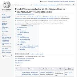 Projet:Wikiconcours lycéen 2018-2019/Académie de VERSAILLES/Lycée Alexandre Dumas
