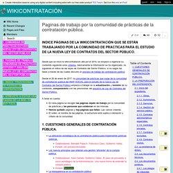 WIKICONTRATACIÓN - Paginas de trabajo por la comunidad de prácticas de la contratación pública.