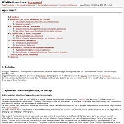WikiDeNovantura:Apprenant