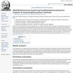 WikiEdProfessional eLearning Guidebook/Evaluating the impacts of eLearning/Evaluation methods