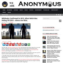 Wikileaks Confirmed In 2013, What NASA Was Hiding Till 2015 – Aliens Are REAL AnonHQ