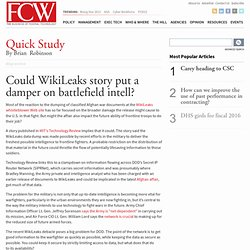 Could WikiLeaks story put a damper on battlefield intell?