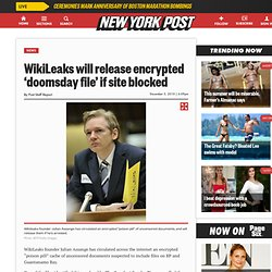 WikiLeaks founder Assange has encrypted Guantanamo documents, will release them if arrested