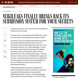 WikiLeaks Finally Brings Back Its Submission System for Your Secrets