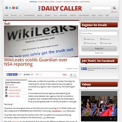 Wikileaks scolds Guardian over NSA reporting