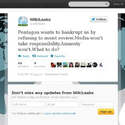 WikiLeaks: Pentagon wants to bankrupt