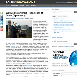 WikiLeaks and the Possibility of Open Diplomacy