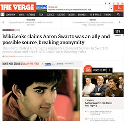 Wikileaks claims Aaron Swartz was an ally and possible source, breaking anonymity