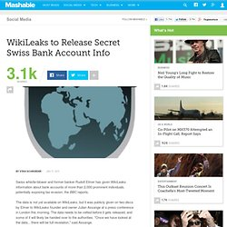 WikiLeaks to Release Secret Swiss Bank Account Info