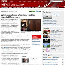 Wikileaks release of embassy cables reveals US concerns