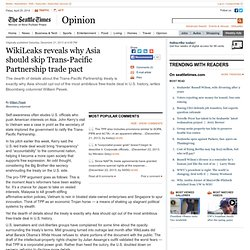 WikiLeaks reveals why Asia should skip Trans-Pacific Partnership trade pact