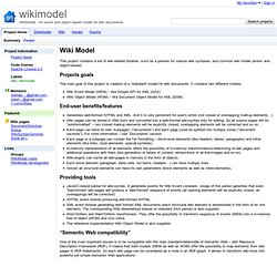 WikiModel - An event and object based model for wiki documents