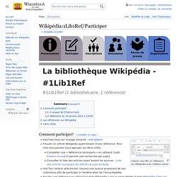 Wikipédia:1Lib1Ref/Participer
