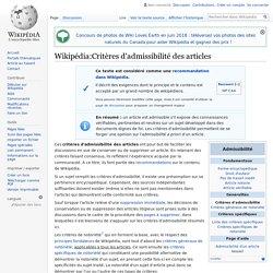 Wikipédia:Critères d'admissibilité des articles