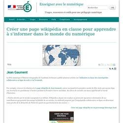Créer une page wikipédia en classe pour apprendre à s'informer dans le monde du numérique - Enseigner avec le numérique