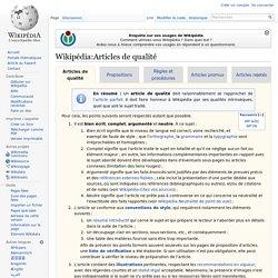 Wikipédia:Articles de qualité