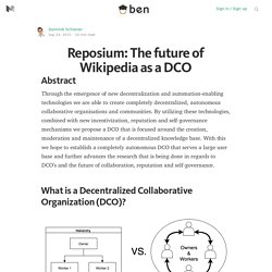 Reposium: The future of Wikipedia as a DCO — Blockchain Education Network
