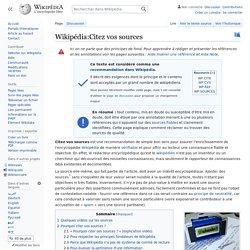 Wikipédia:Citez vos sources