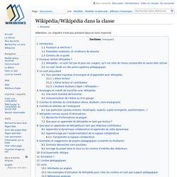 Wikipédia/Wikipédia dans la classe