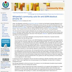 Wikipedia's community calls for anti-SOPA blackout January 18