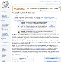 Wikipedia:Conflict of interest - Wikipedia