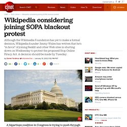 Wikipedia considering joining SOPA blackout protest