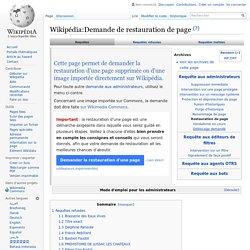 Wikipédia:Demande de restauration de page