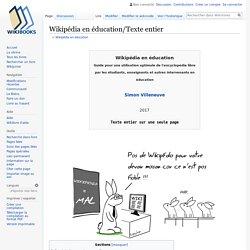 Wikipédia en éducation/Texte entier — Wikilivres