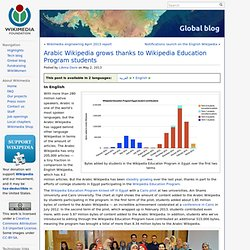 Arabic Wikipedia grows thanks to Wikipedia Education Program students