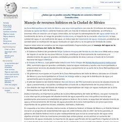Manejo de recursos hídricos en la Ciudad de México