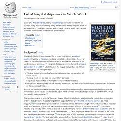 List of hospital ships sunk in World War I